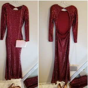 WINDSOR Mermaid Fit Red Sequin Gown with Open Back